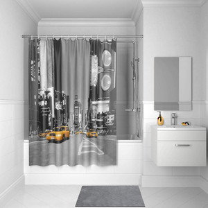 Штора для ванной IDDIS Basic 180x200, черно-белая (B24P218i11)