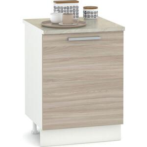 Стол 600 Моби Кухня Лима белый/ясень шимо светлый/столешница мрамор бежевый недорого