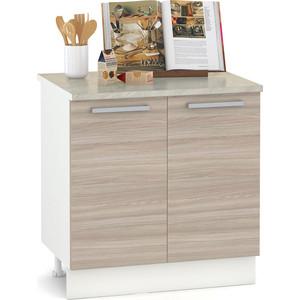 Стол 800 Моби Кухня Лима 2 двери белый/ясень шимо светлый/столешница мрамор бежевый недорого