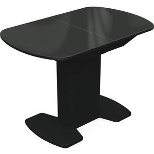 Стол Аврора Корсика черный/стекло черное