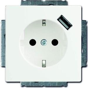 Розетка ABB Basic55 Schuko с/з 16A 250V со шторками USB безвинтовой зажим альпийский белый розетка эра эксперт 2p e schuko со шторками 16a 250v al cu 11а 2204 01