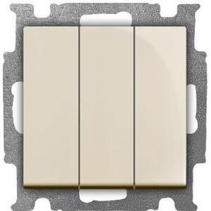Выключатель ABB трехклавишный Basic55 16A 250V слоновая кость