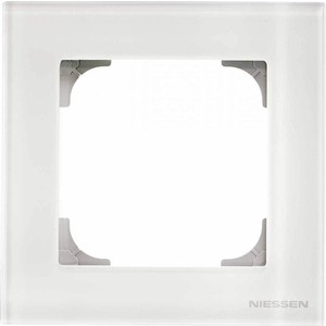 Рамка ABB 1-постовая Sky стекло белое