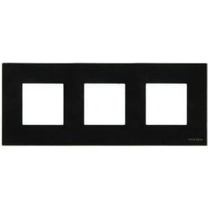 Рамка ABB 3-постовая Zenit стекло черное