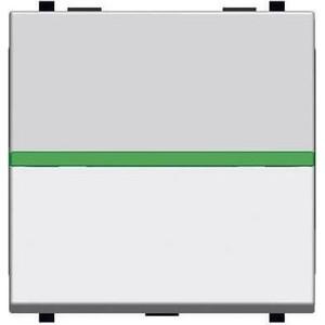 Выключатель ABB одноклавишный Zenit 16A 250V с подсветкой серебро (2CLA220150N1301) фото