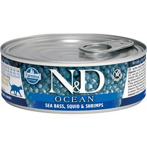 Консервы Farmina N&D Adult Cat Ocean Sea bass, Squid & Shrimp сибасомом, кальмаром и креветками для взрослых кошек 80г