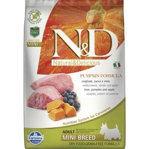 Сухой корм Farmina N&D Adult Dog Mini GF Pumpkin Boar & Apple беззерновой с мясом кабана яблоком и тыквой для собак мелких пород 7кг