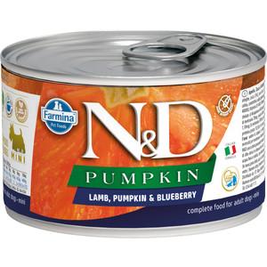 Консервы Farmina N&D Adult Dog Mini Pumpkin, Lamb & Blueberry беззерновой с ягненком и тыквой черникой для взрослых собак мелких пород 140г