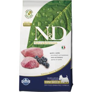 Сухой корм Farmina N&D Adult Dog Mini GF Lamb & Blueberry беззерновой с ягненком и черникой для собак мелких пород 7кг