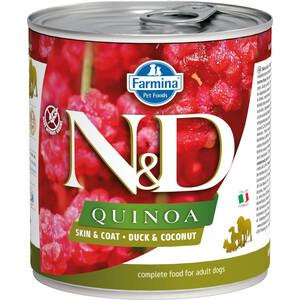 Консервы Farmina N&D Adult Dog Quinoa Skin &Coat Duck & Coat с уткой, киноа и кокосом для здоровья кожи блеска шерсти взрослых собак 285г