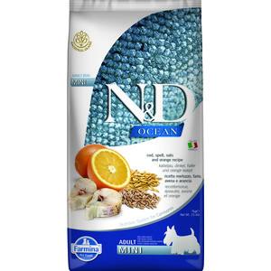 Сухой корм Farmina N&D Adult Dog Mini Ocean Codfish, Spelt, Oats & Orange с треской, спельтой, овсом и апельсином для собак мелких пород 7кг