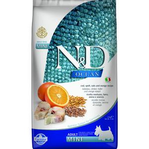 Сухой корм Farmina N&D Adult Dog Mini Ocean Codfish, Spelt, Oats & Orange с треской, спельтой, овсом и апельсином для собак мелких пород 2,5кг