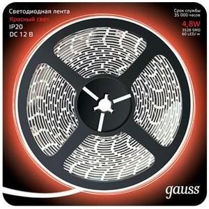 Лента Gauss светодиодная 4,8W/m 60LED/m 2835SMD красный 5M 312000705