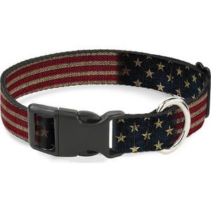 Ошейник Buckle-Down Флаг США с пластиковой застёжкой 38-66см