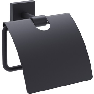 Держатель туалетной бумаги Timo Selene с крышкой, черный (12042/03)