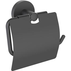 Держатель туалетной бумаги Timo Saona с крышкой, черный (13042/03)