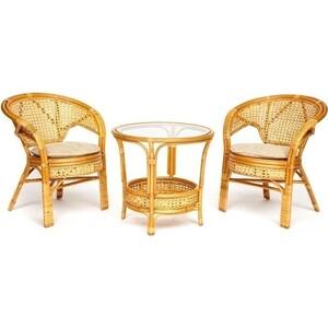 Террасный комплект (стол со стеклом + 2 кресла) TetChair Pelangi ротанг Honey (мед) комплект для отдыха пеланги pelangi 02 15 со стеклянной столешницей без подушек нат ротанг доступные цвета pecan орех