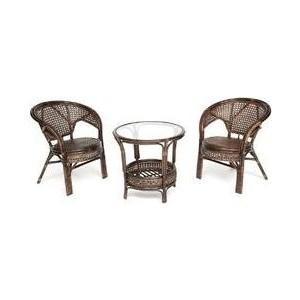 Террасный комплект (стол со стеклом + 2 кресла) TetChair Pelangi ротанг walnut (грецкий орех) комплект для отдыха пеланги pelangi 02 15 со стеклянной столешницей без подушек нат ротанг доступные цвета pecan орех