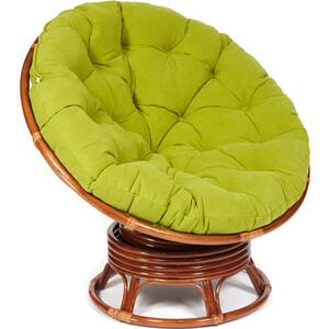 Кресло-качалка TetChair Papasan w 23/01 B с подушкой Pecan орех/флок олива 23