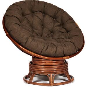 Кресло-качалка TetChair Papasan w 23/01 B с подушкой Pecan орех/ткань коричневый 3М7-147