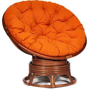 Кресло-качалка TetChair Papasan w 23/01 B с подушкой Pecan орех/ткань оранжевый С23