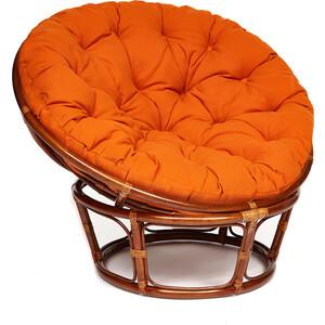 Кресло TetChair Papasan 23/01 W с подушкой Pecan орех/ткань оранжевый С23