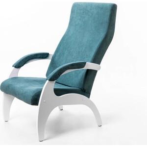Кресло Мебелик Пиза ткань изумруд/каркас белый
