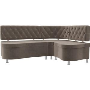 Кухонный угловой диван АртМебель Вегас велюр коричневый правый угол диван угловой диван вегас правый вегас