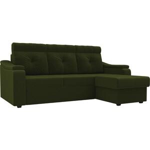 Диван угловой Лига Диванов Джастин микровельвет зеленый правый угол угловой диван лига диванов форсайт микровельвет зеленый правый угол