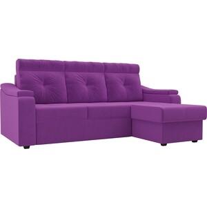 Диван угловой Лига Диванов Джастин микровельвет фиолетовый правый угол угловой диван лига диванов хавьер микровельвет черный фиолетовый правый угол
