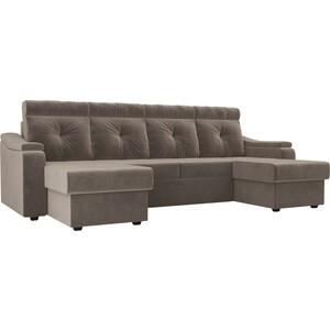 П-образный диван Лига Диванов Джастин велюр коричневый