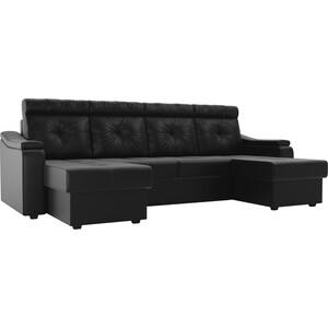 П-образный диван Лига Диванов Джастин эко кожа черный