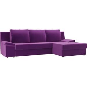 Диван угловой Лига Диванов Челси микровельвет фиолетовый правый угол угловой диван лига диванов хавьер микровельвет черный фиолетовый правый угол