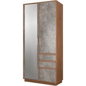 Шкаф для одежды Моби Леон 10.73 орех селект каминный/камень темный ( не универсальная сборка) гостиная эльза шкаф угловой св 421 орех темный