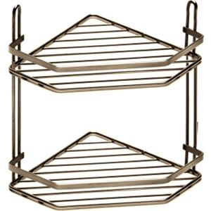 Полка Fora для ванной комнаты и кухни угловая двойная бронза
