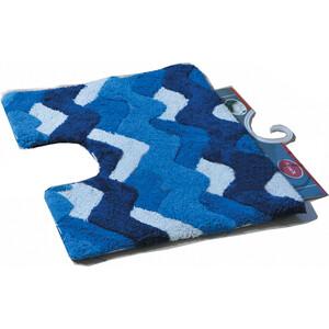 Коврик Fora Волны для ванной с U- вырезом голубой 50*40см