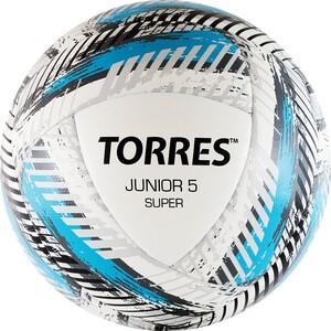 Мяч футбольный Torres Junior-5 Super арт. F319205, р.5, вес 350-370 г, ПУ,2 сл,16 п, гиб.сш,бел-гол-сер жен блуза арт 16 0316 белый р 46