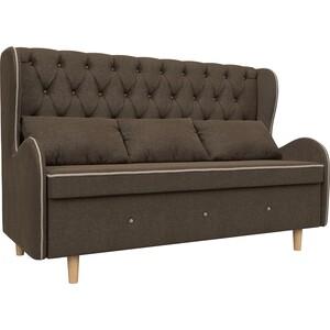 Кухонный прямой диван АртМебель Сэймон Люкс рогожка коричневый