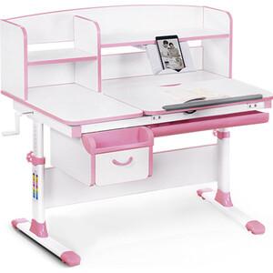 Детский стол Mealux Evo-50 (EVO-50) PN - столешница белая / ножки белые с розовыми накладками
