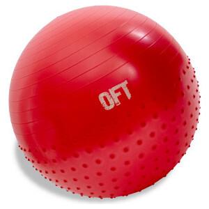 Гимнастический мяч Original FitTools 65 см с массажным эффектом красный