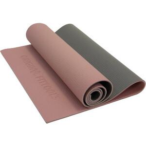 Коврик для йоги Original FitTools 6 мм двухслойный розово-серый