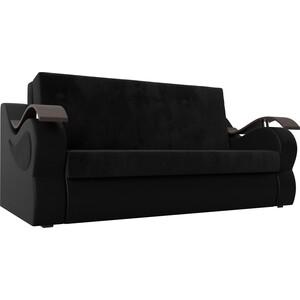 цена на Прямой диван АртМебель Меркурий велюр черный экокожа черный (120)
