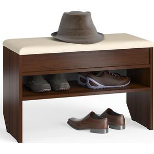 Тумба для обуви Мебельный двор С-МД-ТО-10 орех с нишей и мягким сиденьем