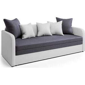 Софа Шарм-Дизайн Трио экокожа белая и серая рогожка софа на металлическом каркасе 2 х местная серая