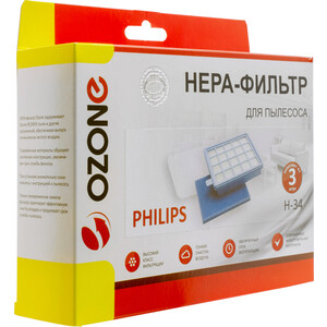 Набор моторных фильтров Ozone для пылесоса PHILIPS тип оригинального фильтра: DJ97-00841A тип оригинального фильтра: FC8058/01 (H-34) philips fc8075 01 насадка для пылесоса