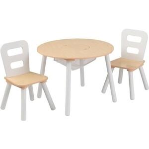 Стол + 2 стула KidKraft Сокровищница, бежевый (Round Storage Table & Chair Set), (27027_KE)