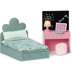 Набор мебели для домика Lundby Комната подростка: кровать + компьютерный стол, (LB_60202900)