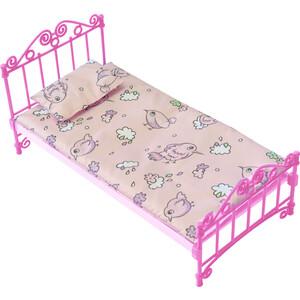 Кроватка Огонек розовая с постельным бельем, (С-1427)