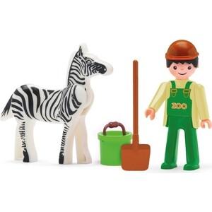 Фигурка сотрудника зоопарка и зебры EFKO 8 см с аксессуарами, (31219EF-CH)