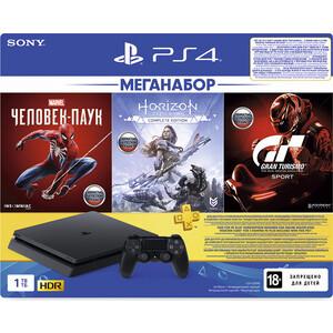 Sony PlayStation 4 1Tb + игры Spider-Man, Horizon Zero Dawn, Gran Turismo Sport и PS Plus на 3 мес.